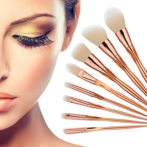 8pcs Makeup Brushes Powder Foundation Eyeshadow Blush Contour Brush Set (Gold) - 3