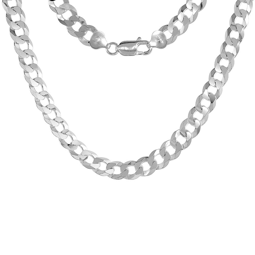 8mm Sterling Silver Flat Curb Chain Necklaces /& Bracelets for Men Beveled Edges Nickel Free Italy Sizes 8-28 inch