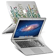 GMYLE 2 in 1 Bundle Garden Flower Pattern Soft-Touch Crystal Print Plastic Hard Case for Macbook Air 13 inch (Model: A1369 & A1466) with Protective Keyboard Skin Cover, Transparent