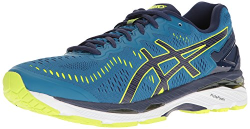 ASICS Men's Gel-Kayano 23 Running Shoe, Thunder Blue/Safety Yellow/Indigo Blue, 10 M (Thunder Cycle Designs)