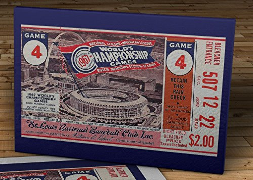 1967 Vintage St. Louis Cardinals World Series Ticket - Canvas Gallery Wrap - 18 x - Baseball Art Wall Ticket