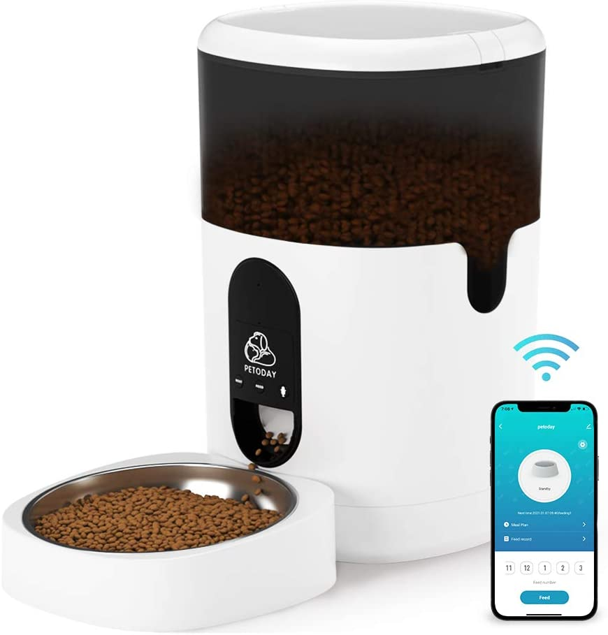 PETODAY Automatic Cat Feeder, WiFi Enabled 4L Smart Auto Pet Feeder with Stainless Steel Bowl, Timed Cat Food Dispenser with Portion Control, Up to 10 Meals Per Day and 10s Voice Recorder