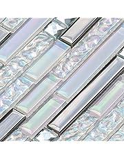 Aimayz Glass Mosaic Tile Backsplash 12''x12'' Iridescent White Glass and Metal Stainless Steel Interlocking Strip Wall Tiles(Pack of 5)