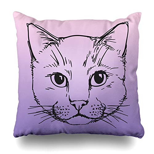 Ahawoso Throw Pillow Cover Style Pink Cat Head Doodle Purple Black Character Cute Domestic Design Decorative Pillow Case Home Decor Square Size 20x20 Inches Pillowcase