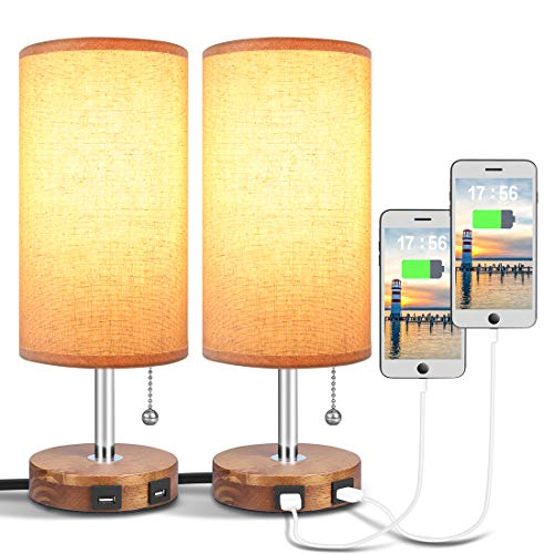 Hong-in USB Table Lamp with Dual USB Port, Solid Wood Nightstand Lamp, Round Fabric Shade Bedside Table Lamp, Minimalist Design Desk Lamp Ideal for Bedroom, Living Room, Guest room, Kids room (2 Pack)
