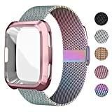 UHKZ Compatible Fitbit Versa Bands, Stainless Steel Mesh Sport Metal Wristband Loop Accessories for Women Men with Fitbit Versa Screen Protector Case Compatible Fitbit Versa Smartwatch,Colorful,L