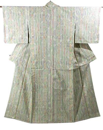 可能受け取るがっかりしたリサイクル 着物 紬  竹縞模様 ひとえ 正絹 裄64cm 身丈157cm