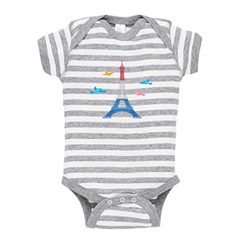 Cute Rascals Eiffel Tower with French Flag Birds Baby Combed Ring-Spun Cotton Stripe Fine Bodysuit One Piece - White Gray, 12 Months