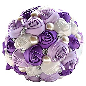 Abbie Home Advanced Customization Romantic Bride Wedding Holding Bouquet Roses with Bead & Diamond Accessory, Purple + White Color 98