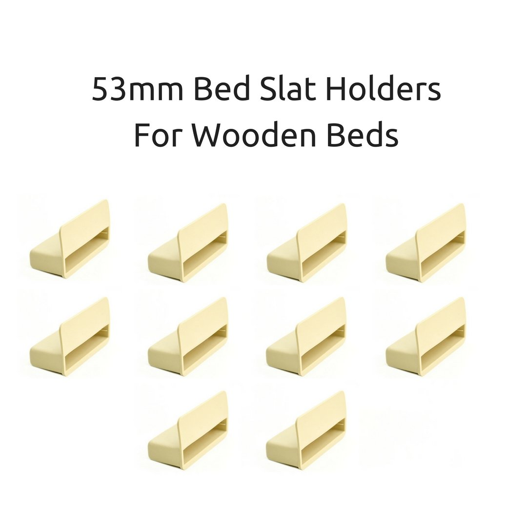 53mm Single Bed Slat Holders Caps for Wooden Frames Beige (Pack of 10 ) The Bed Slats Company