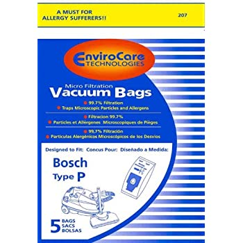 Amazon.com - PAPER BAG, BOSCH TYPE P CANISTER MICRO ENV 5 PK -