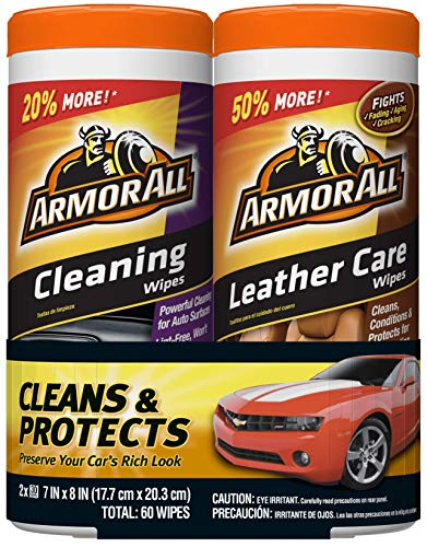 Armor All 18781 Cleaning and Leather Care Wipes, 30 count each - 2 Pack Wipes (Best Auto Interior Cleaning Products)