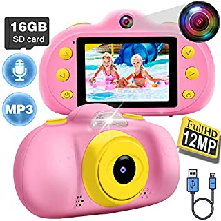 Kids Camera for Girls Boys Toddlers, 1080P FHD Selfie Digital Camera 12 MP DUAL Lens Selfie Camera Shockproof Children Camera with Puzzle Game/MP3, Children Birthday Holiday Toy Gifts (16GB SD Card )