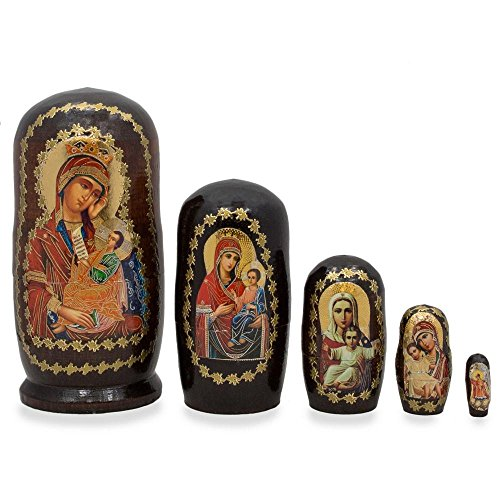 BestPysanky Set of 5 Virgin Mary and Jesus Icon Russian Nesting Dolls