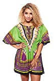 Womens Waist Stretchy Band Front Neck Slit Cut Africa Dashiki Dress 1830 (One Size, Green)