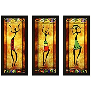 SAF Set of 3 Dancing African Lady Modern Art UV Coated Home Decorative Gift Item Framed Painting 17 inch X 24 inch…