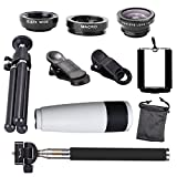 Jaylinna Universal HD 10 in 1 Camera Lens Kit 8/12x Cell Phone Telephoto Telescope Lens+Fish Eye Lens+Wide Angle+Macro Lens+Selfie Stick Monopod+Mini Tripod(12x,white)