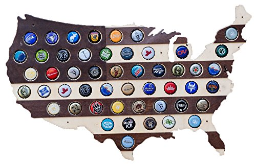(Striped USA Beer Cap Map - Holds 50 Craft Beer Bottle Caps - Guy Gifts (Dark Stripes))