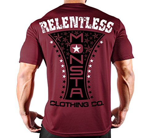 (Men's Relentless MONSTA-138 Poly-Dri Workout T-Shirt (Garnet Dri-Fit Tee, Large))