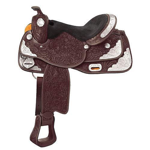 Silver Show Saddles - Tough 1 Seven Oaks Silver Show Saddle, Dark Oil, 16-Inch