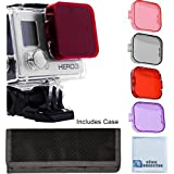 4pc Filter Kit For GoPro Hero 3 Large Dive case. Filters come w/ Soft Case. Red, Purple, Pink and Gray Colors. Scuba Green Water, Scuba Tropical Water, ND & Warming Filters & an eCostConnection Microfiber Cloth