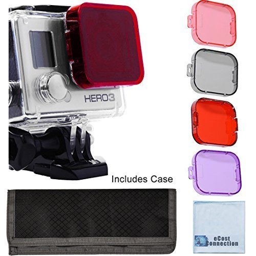 Filters come w// Soft Case Scuba Green Water 4pc Filter Kit For GoPro Hero 3 Large Dive case Red Scuba Tropical Water Pink and Gray Colors Purple ND /& Warming Filters /& an eCostConnection Microfiber Cloth