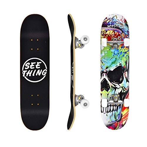 seething 31″ Standard Skateboards for Beginners, 7 Layer Canadian Maple Double Kick Concave Standard and Tricks Skateboards for Kids and Beginners