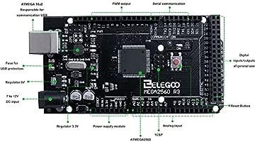 ELEGOO Mega 2560 R3 Tarjeta Placa Compatible con Arduino IDE con Microcontrolador Basada en el ATmega2560 ATmega16U2 con USB Cable Negro Versión Mega ...