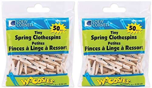1 Clothespin (Loew-Cornell Woodsies Tiny Spring Clothespins, 1-Inch, Natural, 50-Pack (2 Pack))
