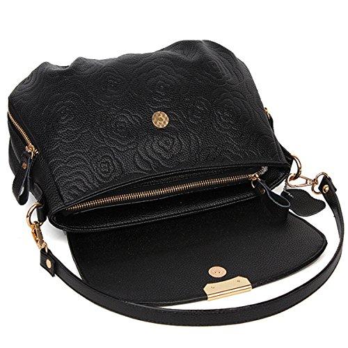 Moda donne di mezza età borsa da donna di grandi capacità di spalla borsa Messenger, nero