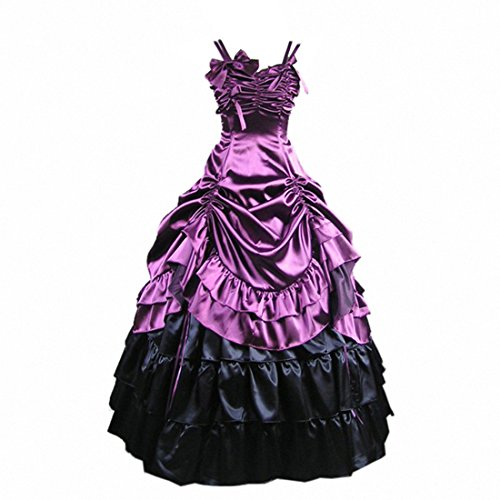 Partiss Womens Gothic Victorian Ruffles Prom Lolita Dress,Small, Purple ()