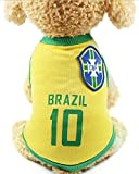 OMELET Dog World Cup Soccer Basketball Vest, Brazil Pets Football Summer Cool Clothes Apparel (6XL)