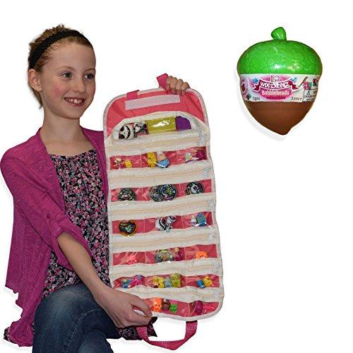 Li'l Woodzeez Bobbleheads Series 2 with EASYVIEW Pink Toy Organizer Bundle