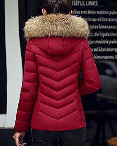 Collo rosso Imbottito Cappotto Pelliccia Fit Donne Manica Di Giacca Vino Spessa Slim PwIB1xRq