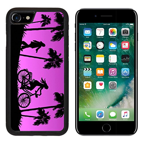 MSD Premium Apple iPhone 7 iPhone7 Aluminum Backplate Bumper Snap Case IMAGE ID: 39148230 Tall palm trees a girl on a bike and another who is walking in the sunset