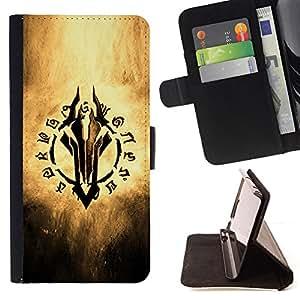 BullDog Case - FOR/Sony Xperia Z1 L39 / - / Fantasy Game Writing /- Monedero de cuero de la PU Llevar cubierta de la caja con el ID Credit Card Slots Flip funda de cuer