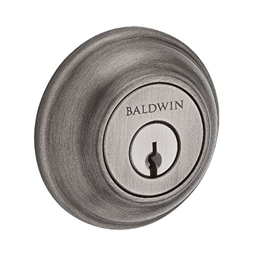 Baldwin Reserve SCTRD152S Single Cylinder Traditional Round Deadbolt with Smartkey Matte Antique Nickel Finish Dark Antique Nickel Finish