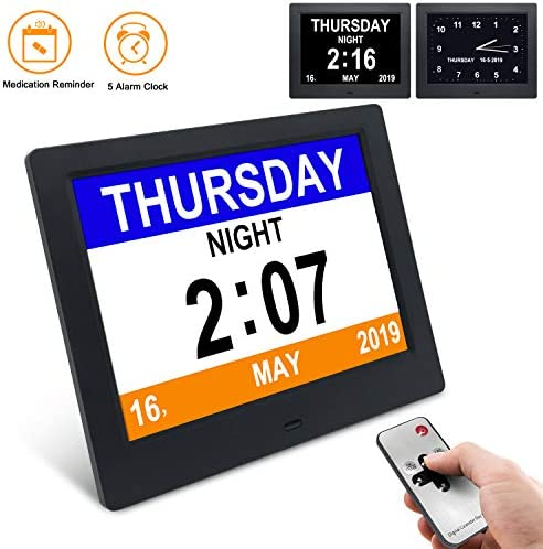 dxmart Alarm Clock, Digital Calendar Day Clock, Extra Large Non-Abbreviated Day Month, Digital Alarm Clock The Original Memory Loss, Good Gift The Elderly 8inch Black black1