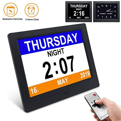 SSA [2020 Newest Version] Dementia Clock,Digital Day Calendar Alarm Clock- Alarms,Non-Abbreviated Day & Month Memory Loss,Dementia,Alzheimer's Vision Impaired Clock for Elderly Seniors