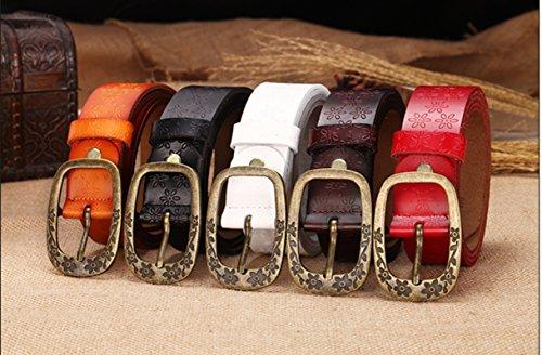 Herebuy - Vintage Leather Cowgirl Belt for Jeans Carved Desiger Belts (Coffee)