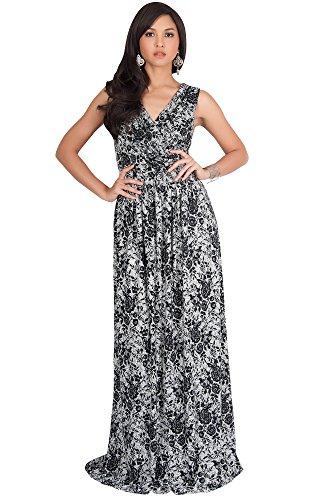 KOH KOH Womens Long Lace Floral Print Sleeveless Semi Formal Summer Maxi Dress