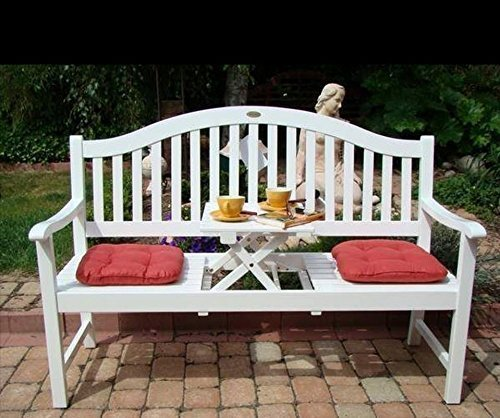 Dekorative Gartenbank mit ausklappbarem Tisch - 3 Sitzer günstig ...