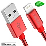 [Apple MFi Certified] Metal USB Lightning Cable, Foxsun iphone Charging Cable 5Ft/1.5M Metal Braided Lightning Cable Cords for iphone X/8/7/7Plus/6/6Plus/6S/6S Plus/5/5S/5C/SE, iPad Pro/Air/Mini (Red)