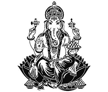 Mano de Hamsa dodoskinz Buda Arte de la pared del elefante indio Oum  pegatinas de vinilo 757c65df71c6
