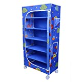 Little One's 6 Shelves Steel Structure Folding Wardrobe with Wheels – Aquatic Blue