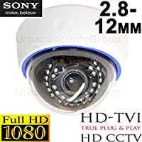 USG HD-TVI 2.8-12mm 1080P 2MP Business Grade Sony DSP High Definition CCTV Dome Security Camera: 19201080 HD Resolution, Vari-Focal Lens, 30x IR LEDs, OSD, IR-Cut, WDR, Motion Detection, DNR