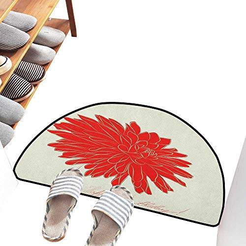 (Axbkl Outdoor Doormat Dahlia Sketching of a Colossal Dahlia Blossom Retro Style in Blood Red Colored Single Flower Machine wash/Non-Slip W36 xL24 Red Tan)
