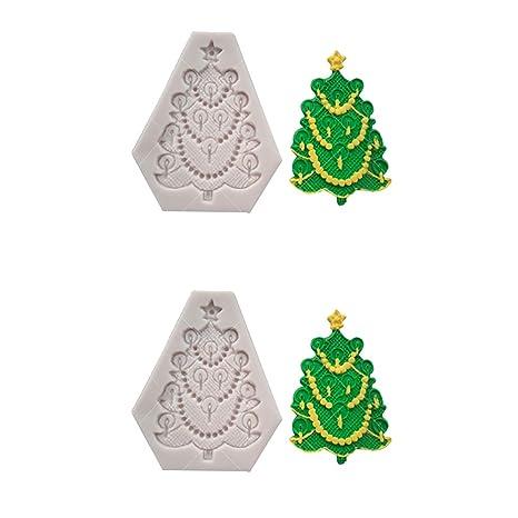1Buy 2 unids Navidad árbol de Navidad de Silicona moldes para Pasteles Antiadherente de azúcar Fondant