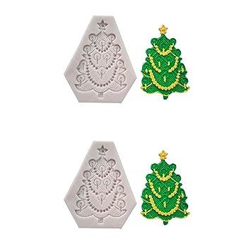 1Buy 2 unids Navidad árbol de Navidad de Silicona moldes para Pasteles Antiadherente de azúcar Fondant Jalea moldes de Encaje de Hielo Accesorios de Cocina ...