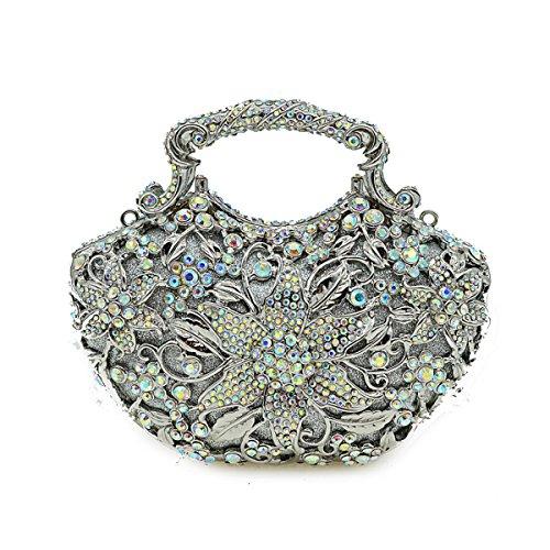 Strass Sac De Chaîne silver Sac Banquet Diamant D'embrayage Sac De Mode Sac D'épaule De De De De De Luxe Sac Cristal Soirée Dames Dîner à De Main De wYpq5zxFp